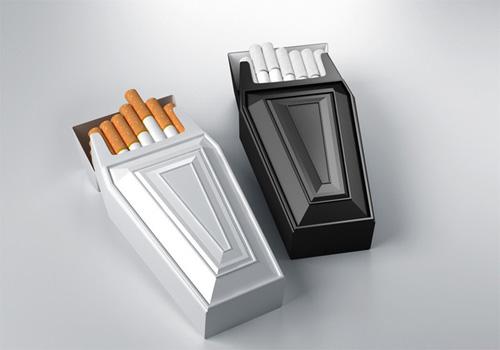 Пачки сигарет напоминают гробики((