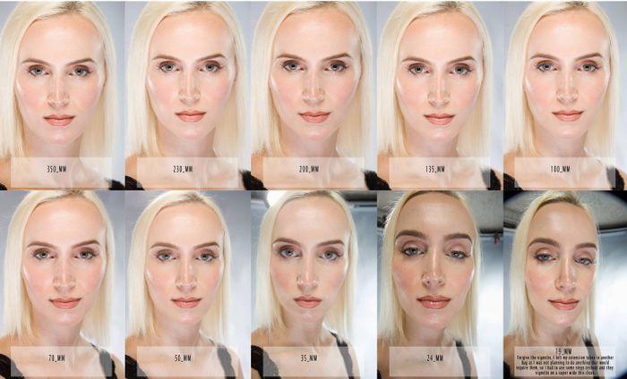 Лицо с разных расстояний от объектива фотокамеры