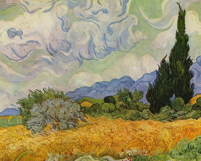 Винсент ван Гог - Пшеничное поле с кипарисами (1916)