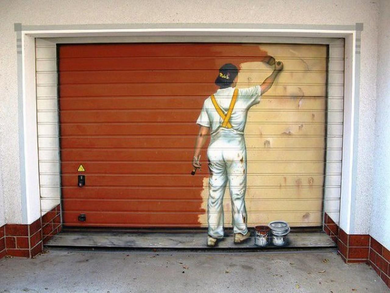 Рисунок на гаражных воротах своими руками 801