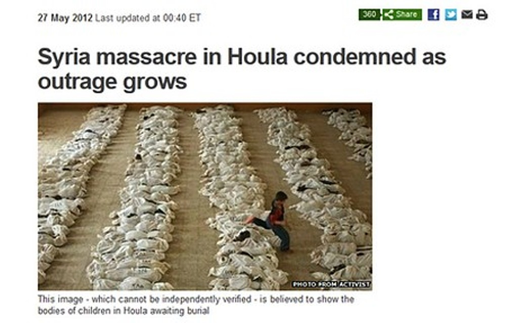 """Би-би-си использовала """"фото из Ирака, чтобы проиллюстрировать бойню в Сирии"""""""