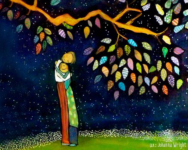"""""""Отложите дела, отложите"""" (Илья Евтеев) - рисунок """"Двое обнимаются под яблоней"""""""