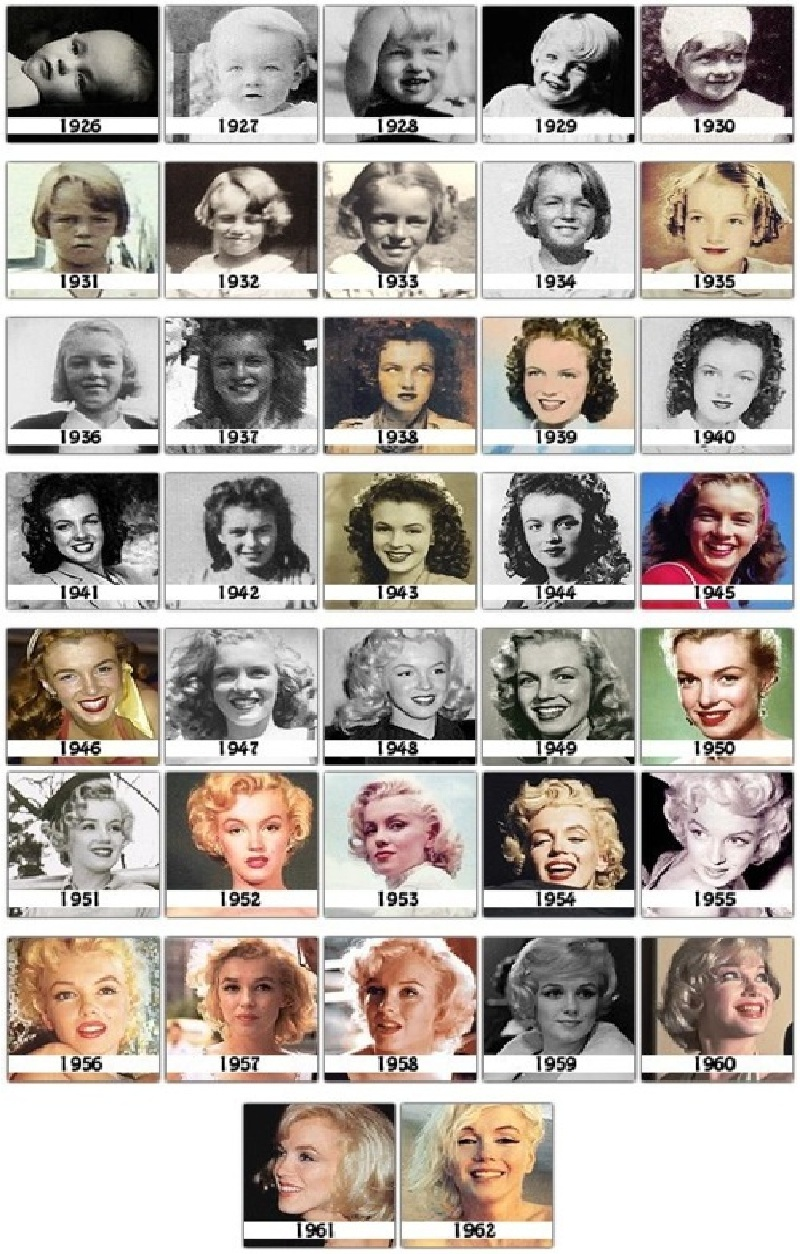 Эволюция Мэрилин Монро (Marilyn Monroe) - фото 1926-62 гг. её жизни в одном файле (37 фото)